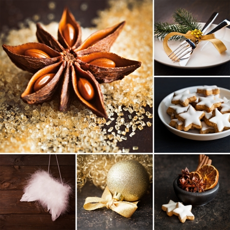 collage christmas with cookies and decoration  photo