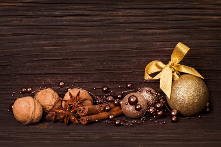 decoration for christmas in front of wooden background