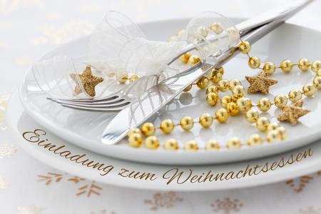 invitation german text Einladung zum Weihnachtsessen  photo