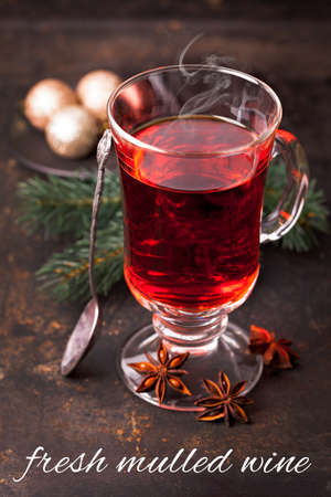 christmas tea: fresh mulled wine with steam Stock Photo