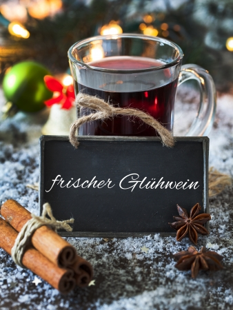 mulled wine with a tag an copy space  Stock Photo