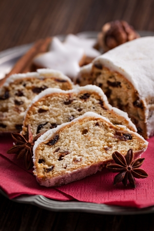 fresh german stollen cake and spices
