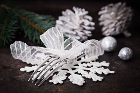 table setting for christmas white and silver   photo