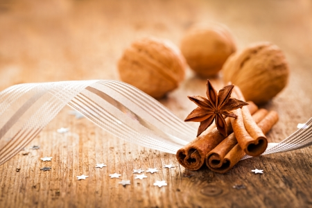 star anise christmas: spices anise and cinnamon for christmas Stock Photo