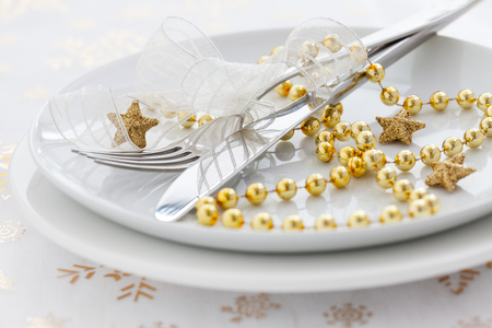 golden place setting for christmas photo