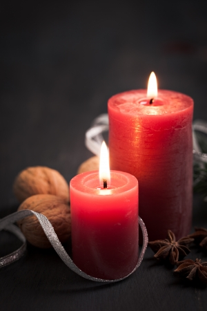 two candles for christmas and copy space