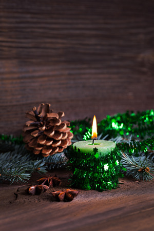 burning candle for christmas with copy space  photo