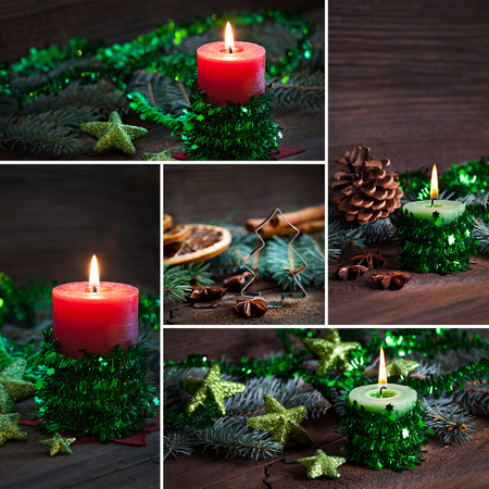 collage of christmas candles red and green   photo