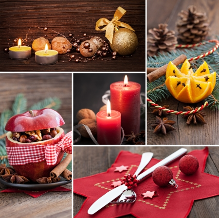 candle light dinner: collage for christmas with food and stills Stock Photo