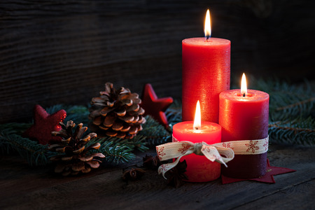 burning time: third advent with candles and decoration