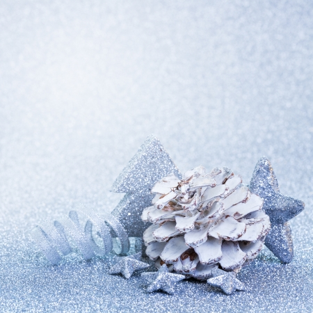 christmas decoration blue with copy space