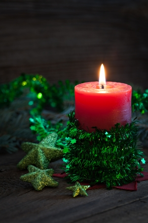 advent time: candle with decoration for christmas Stock Photo