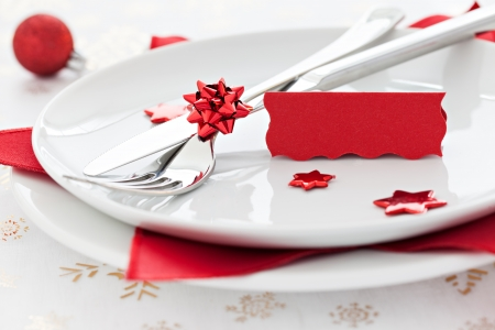place setting with tag and copy space