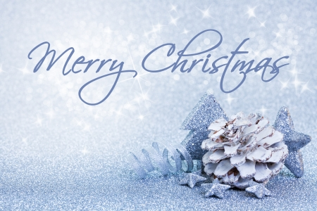blue christmas background: christmas card blue with text merry christmas Stock Photo