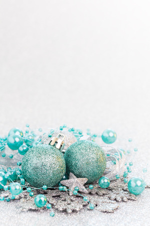 christmas ball isolated: christmas card turquoise with copy space