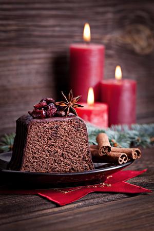 chocolate cake for christmas  photo