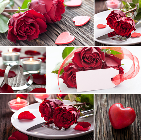 collage valentines day with roses