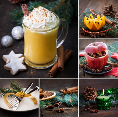 collage christmas rustic with eggnog photo