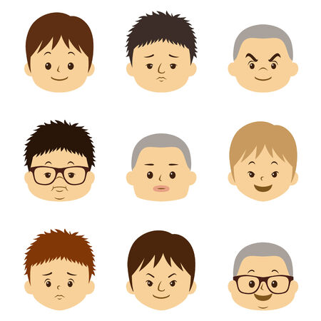 Different Male face expression illustration  Vector