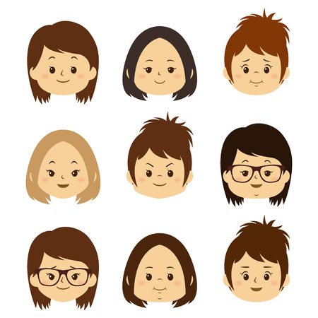 Different Female face expression illustration