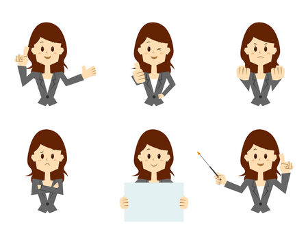 Businesswoman illustration with different pose Imagens - 31122545
