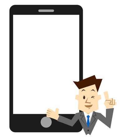 Smartphone and businessman