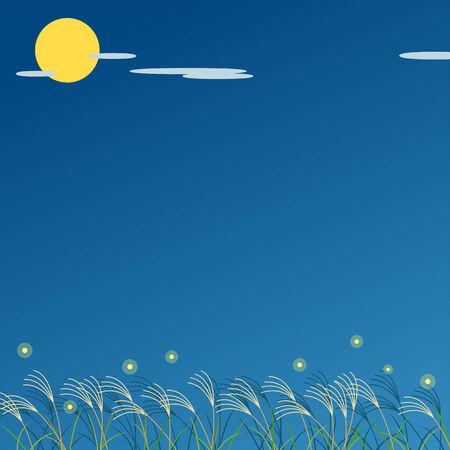 Moon viewing at night Ilustração
