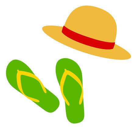 sombrero de paja: Sandalias de la playa y sombrero de paja Vectores