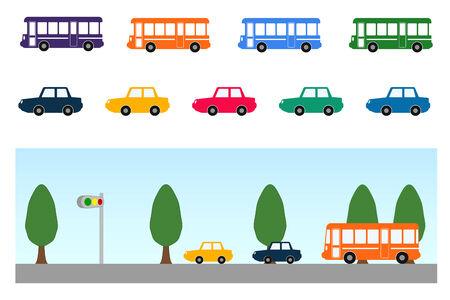Bus and car Ilustração