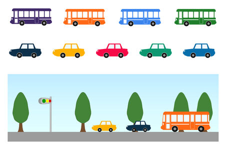 Bus and car Illustration