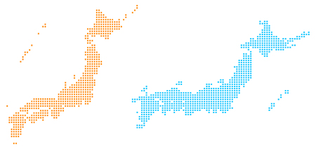 Dot map of Japan Illustration