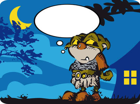 over the shoulder: Little Ogre A mysterious figures in the night: an ogre cute! Illustration