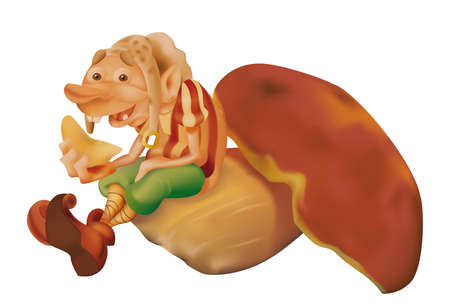 stoking: A smiling elf eats a mushroom