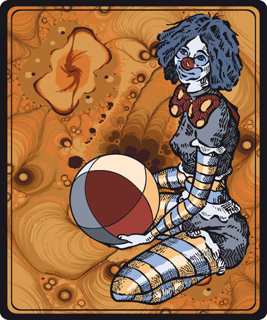 pierrot: Clown Girl with beach ball Illustration