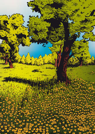 tranquil scene on urban scene: Spring a  enchanted meadow Illustration