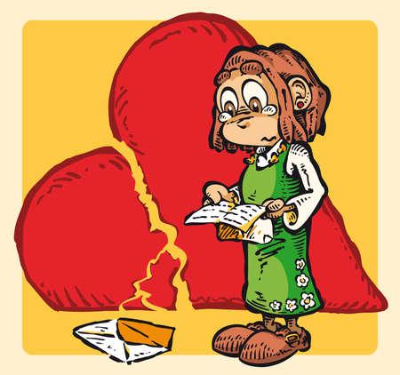 pre adolescent child: Heart-Broken A sad love letter Illustration