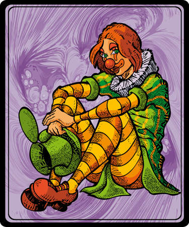 'one woman only': Clown Girl with abstract background