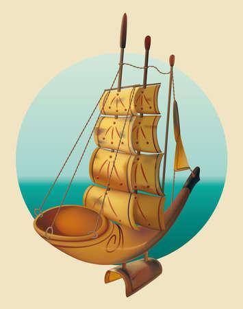 antiquities: Sailing Ship A model of a sailing ship Illustration
