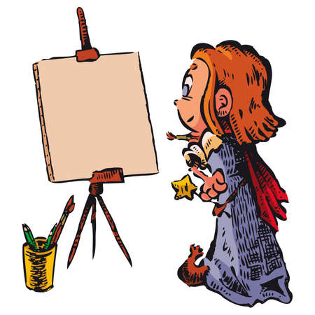 rear view: A little witch paints a picture. Write or draw on canvas what you want.