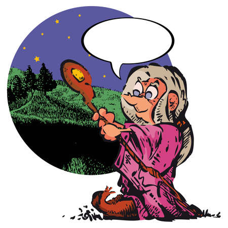 speculative: An old witch with the background of nature. Write what you want on balloon