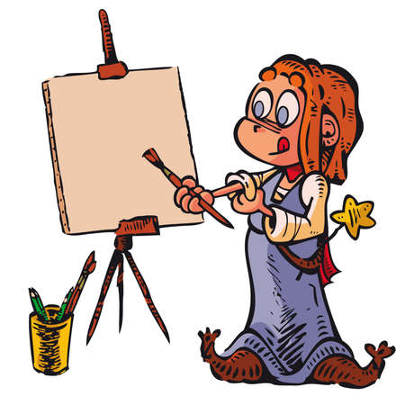 pre adolescent child: Witch Picture A little witch paints a picture. Write or draw on canvas