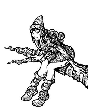 speculative: A fantasy girl sitting on the branch