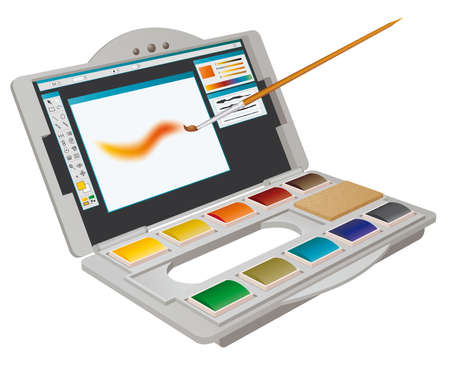art painting: Digital Watercolor, painting meets technology: digital art