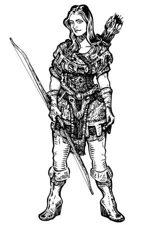 speculative: A woman archer with medieval  fantasy clothed