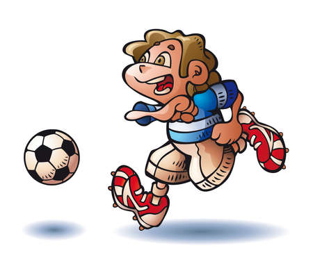 A happy child plays soccer