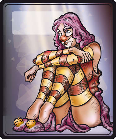 crouching: A Clown Girl in moment of relaxation