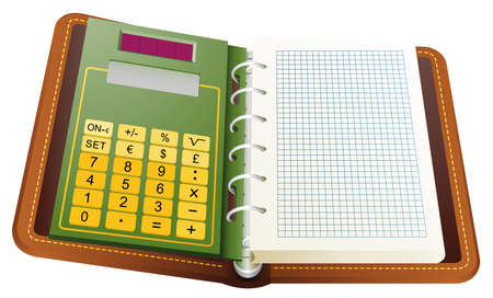 Ring Agenda with calculator. On page write what you want. Illustration