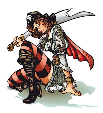 pirate girl: Pirate Girl Illustration