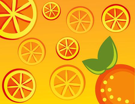 abstract orange vector illustration green leaf