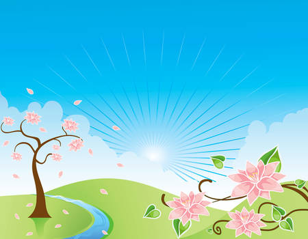 abstract nature flower landscape blue sky tree